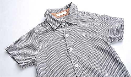 Boys Plaid Button Down Shirts Turn-Down Collar Short Sleeve Cotton Tops Color Grey Size 6A by Snowdreams (Image #3)