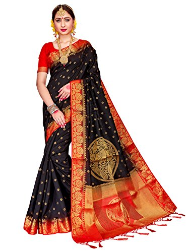 ELINA FASHION Sarees for Women Banarasi Art Silk Woven Work Saree l Indian Wedding Traditional Wear Sari and Blouse Piece (Designer Chiffon Sarees)