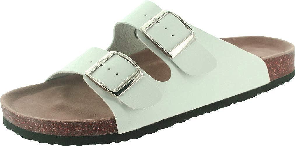 White Pu Cambridge Select Men's Classic 2-Strap Buckle Slip-On Flat Slide Sandal