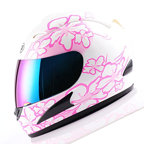 WOW Motorcycle Full Face Helmet Street Bike Women Lady Pink Flower White -
