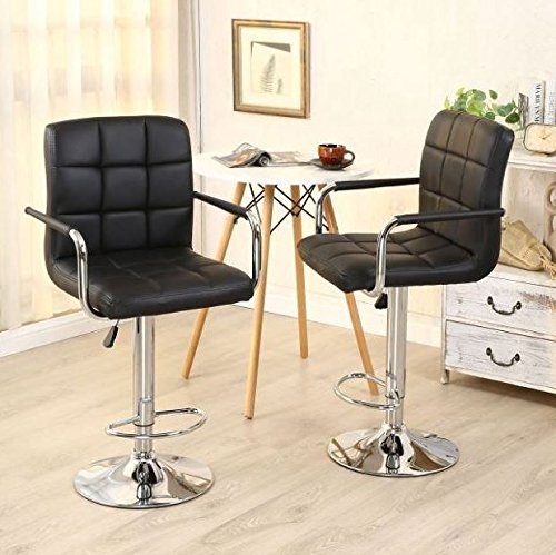 New Set of 2 Modern Counter Chair Adjustable 360 Degree Swivel Seat with Arm & Chrome Base PU Leather Barstools Hydraulic Height Chair Retro Saddle Ergonomic Chair Kitchen Pub Bar Restaurant Home