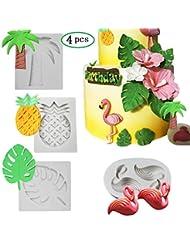 Tropical Rain Forest Theme Silicone Cake Fondant Mold,Flamingo/Pineapple/Palm Leaves/Coconut Palm Tree Candy Chocolate Polymer Clay Hawaiian Cake Decorating