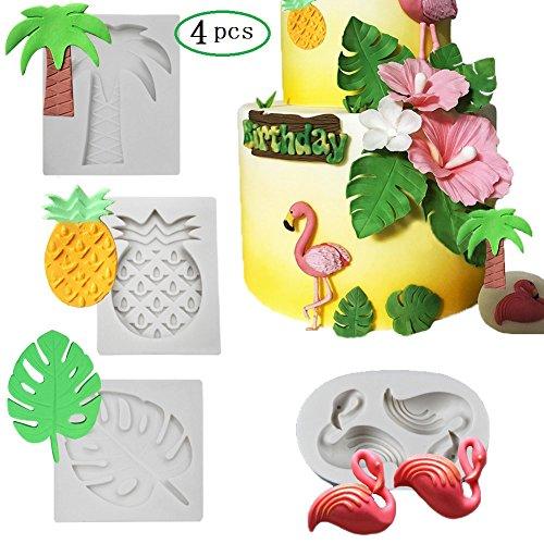 Tropical Rain Forest Theme Silicone Cake Fondant Mold,Flamingo/Pineapple/Palm Leaves/Coconut Palm Tree Candy Chocolate Polymer Clay Hawaiian Cake Decorating - Tree Chocolate Mold
