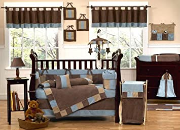Sweet Jojo Designs Modern Soho Blue And Brown Baby Boy Bedding 9pc Crib Set