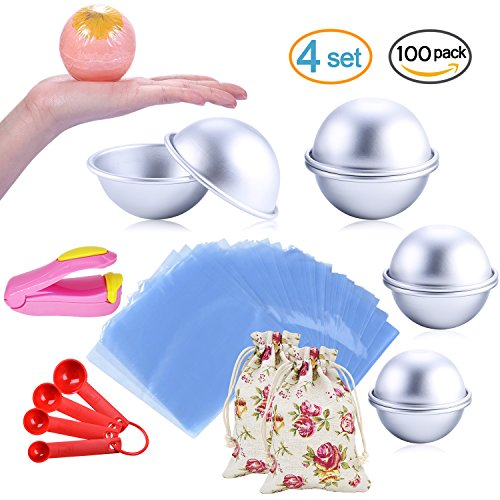 Simply Soaps Bath Bag (Bath Bomb Mold Set 116 Pcs - 3 Size 8 Pieces DIY Metal Mould, Shrink Wrap Bags, Gauge Spoon Set, Luxury Gift Bags, Mini Heat Sealer - for Soaps, Crafts and Bath Bombs Making (with Instructions))