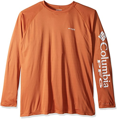 Columbia Men's Terminal Tackle Big & Tall Long Sleeve Shirt, Island Orange/White Logo, ()