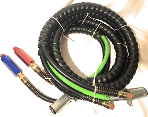 (Euro America 3 in One Wrap Set 7 Way Tractor Trailer Electric Cord Cable ABS & Air Line 15')