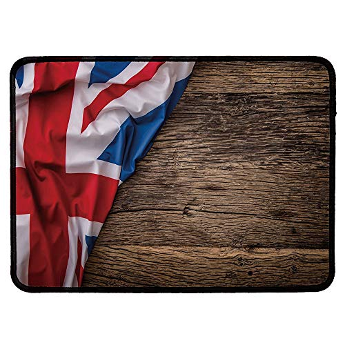 (Union Jack Wristband Mouse Pad,Flag of United Kingdom on Old Oak Wooden Board English Nation Country Britain for Home Desk Computer)