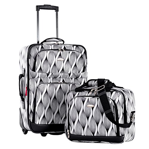 Olympia Let's Travel 2 Piece Carry-On Luggage Set, Spiral, One (5 Piece Expandable Luggage Set)