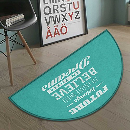Suchashome Motivational Bath Mat non slip Hipster Letters Saying Advice Believe in Your Dreams Have Faith in Yourself Customize door mats for home Mat Teal White size:23.7''x15.8'' by Suchashome