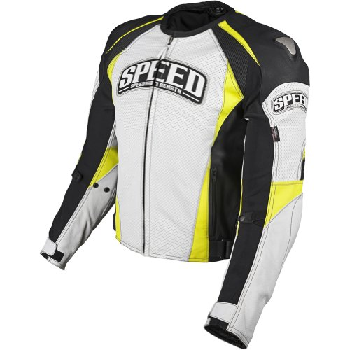 Speed and Strength Twist of Fate 3.0 Men's Leather On-Road Motorcycle Jacket - White/Hi-Vis / Size 44