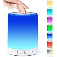 Lampka nocna z głośnikiem Bluetooth, czujnik dotykowy, lampka nocna, przyciemniana, ciepłe światło i 7 zmieniających się…