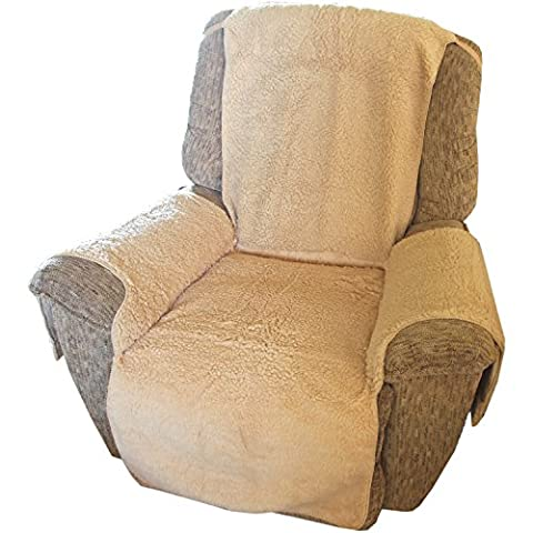 Trenton Gifts Plush Chair Cover, Recliner Chair Cover. Beige - Over Dual Reclining Loveseat