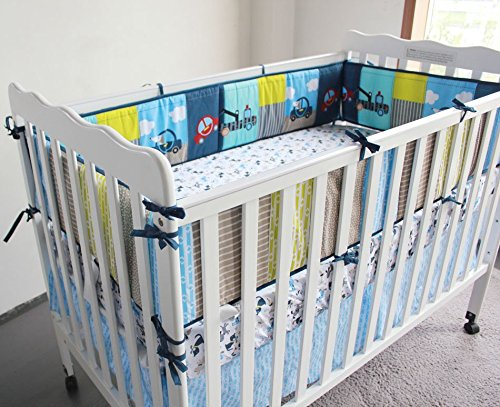 NAUGHTYBOSS Boy Baby Bedding Set Cotton 3D Embroidery Submarine Car Dog Rockets Quilt Bumper Mattress Cover 7 Pieces Set Blue Patchwork by NAUGHTYBOSS (Image #5)
