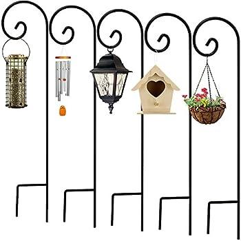5 Pack Garden Shepherds Hook 48 Inch Hummingbird Bird Feeder Pole Solid  Metal Hanger Pathway Light