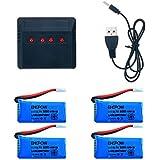 kingtoys® RC Drone Batería 4 Pcs 3.7V 500MAH de la Li-po Batería y 4 en 1 Cargador para JJRC H31 RC Quadcopter