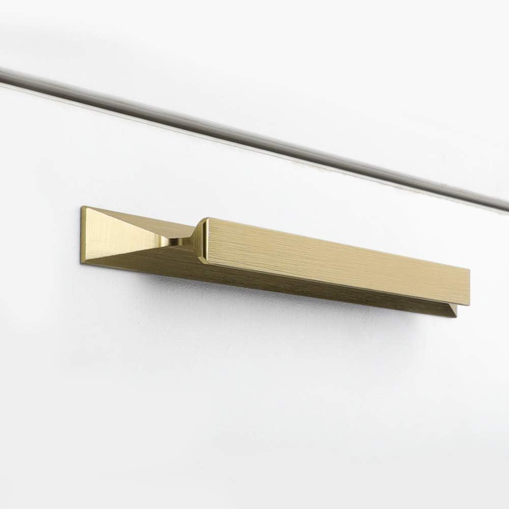 goldenwarm 3-3/4 inch Cabinet Handles Gold Drawer Pulls - LS7024GD96 Brushed Brass Dresser Handles Decorative Furniture Hardware Bathroom Cabinet Pulls, 15 Pack