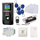 Biometric Fingerprint Access Control Systems Keyless Entry Kits USA Door Electric Strike Lock+Remote Control+110-240V Power Supply+Doorbell + Exit Button+RFID Key Fods/Cards