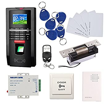 Image of Biometrics Biometric Fingerprint Access Control Systems Keyless Entry Kits USA Door Electric Strike Lock+Remote Control+110-240V Power Supply+Doorbell + Exit Button+RFID Key Fods/Cards