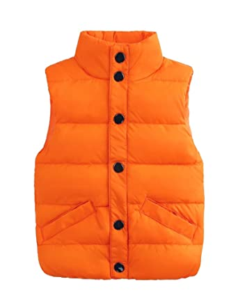 e3734548b Child Down Vest Coats Winter Warm Outerwear For Girls Boys Orange ...