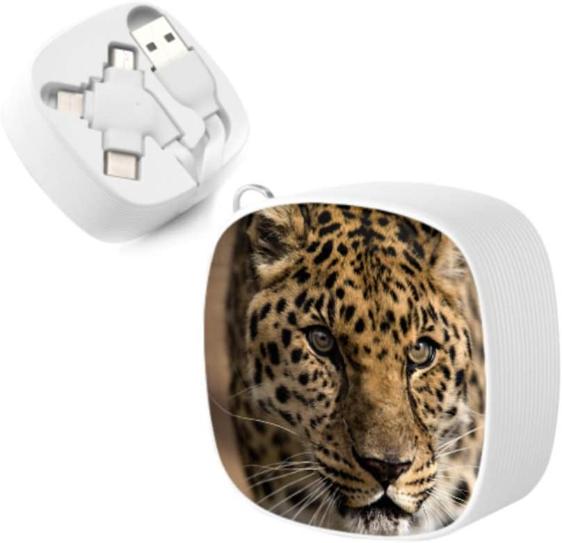 USB Cable Charger Leopard Close Up Animal Mobile X Multi 3 in 1 Retractable Multi USB Cable Fast Charging with Micro USB//Type C Compatible with Cell Phones Tablets and More