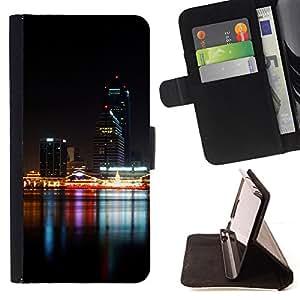 BullDog Case - FOR/Samsung Galaxy S6 EDGE / - / Night Time Modern City River /- Monedero de cuero de la PU Llevar cubierta de la caja con el ID Credit Card Slots Flip funda de cuer