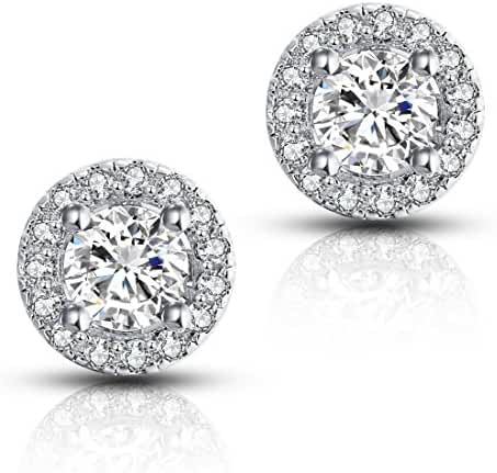 Halo CZ Stud Earrings – Fleur Rouge 18k White Gold Plated Stunning Brilliant Cut Cubic Zirconia Sparkle Earrings For Women Girls.