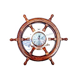 Nagina International Nautical Solid Wood Captain' Vintage Decor Ship Wheel with Time Clock - Captain Maritime Beach Home Decor Gift (42 Inches)