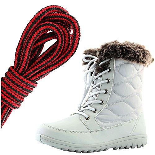 Dailyshoes Womens Confortable Bout Arrondi Cheville Plate Haute Eskimo Fourrure Dhiver Bottes De Neige, Noir Rouge Gris Clair Pu