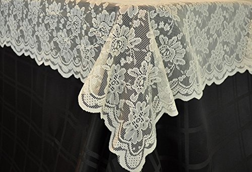Wedding Linens Inc  72 In X 72 In Lace Table Overlays  Lace Tablecloths Square  Lace Table Overlay Linens  Lace Table Toppers For Wedding Decorations  Events Banquet Party Suppliess   Ivory