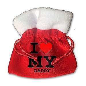 I Love My Daddy Red Velvet Drawstring Cloth Storage Bags 15cm X 15cm