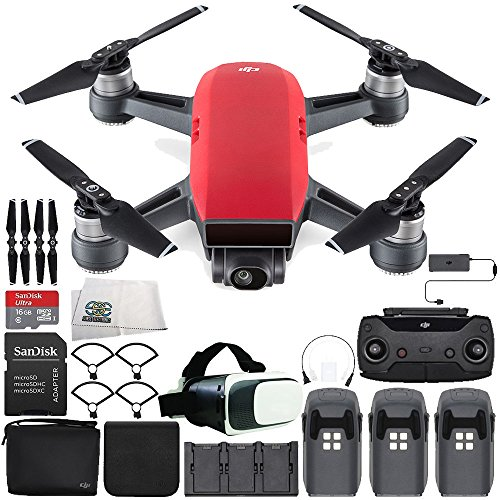 DJI Spark Portable Mini Drone Quadcopter Fly More Combo Virtual Reality Experience VR Ultimate Bundle (Lava Red)