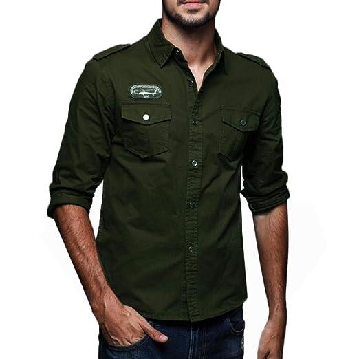 2018 Moda otoño Camisa Hombres de Manga Larga de Vestir Camiseta de Manga Larga de botón Militar de Carga para Hombre Blusa Deportivas Pollover Outwear: ...