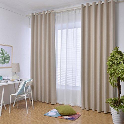 Moliketor Faux Linen Textured Curtains Bedroom Living Room Study Patio Door Grommet Drapes Beige Sand 84W x 102L Inch (1 Panel)