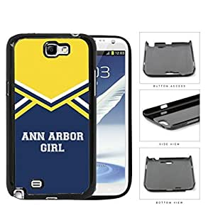 Ann Arbor City Girl School Spirit Cheerleading Uniform Samsung Galaxy Note II 2 N7100 Hard Snap on Plastic Cell Phone Cover