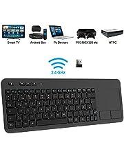 TedGem Wireless Tastatur, Touch Tastatur 2.4G USB Tastatur Wireless Keyboard PC Tastatur USB mit Nano USB Receiver für Laptop/Mac/PC/Android TV (Deutsches Tastaturlayout)
