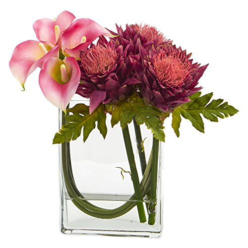 - Nearly Natural Calla Lily and Artichoke in Rectangular Glass Vase, 12