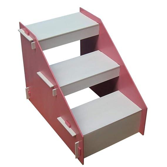 HEMFV Escaleras de Madera para Mascotas con 3 escalones Antideslizantes, casa incorporada para Perros, Gatos y Mascotas Cortas para Llegar a la Cama, sofá, Ventana, automóvil (Color : Pink): Amazon.es: Hogar