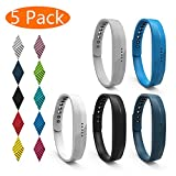 KingAcc Fitbit Flex 2 Strap, Soft Accessory Replacement Bands Straps for Fitbit Flex 2, With Metal Buckle Sport Fitness Wristband Band Bracelet Women Men (5-Pack, SeriesA, Large)