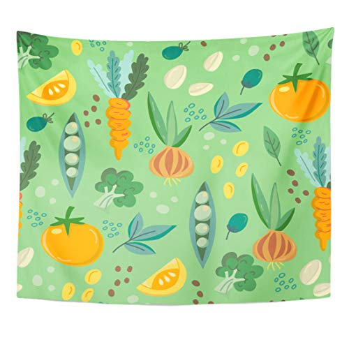 Emvency Tapestry Carrot Bell Beautiful of Vegetables Bright and Broccoli Celery Collection Home Decor Wall Hanging for Living Room Bedroom Dorm 50x60 Inches