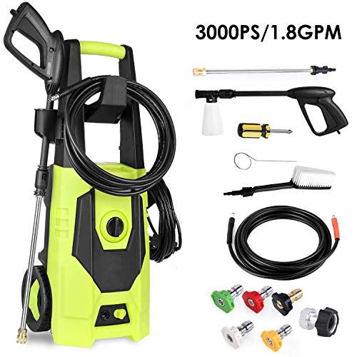 femor Electric Pressure Washer, Power Washer 3000PSI 1800W 1.8GPM, Car Washer with Five Interchange Nozzle, Brush, Detergent Bottle, Perfect for Car Washing, Patio & Garden