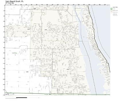 Zip Codes South Florida Map.Amazon Com Zip Code Wall Map Of Vero Beach South Fl Zip Code Map