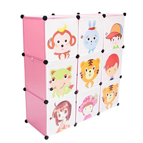VENKON - Kinderzimmer Steckschrank DYI Steckregal System Regalschrank: 9-Module-Set, rosa