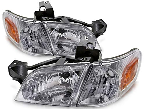 Chevy Venture Corner - HEADLIGHTSDEPOT Chrome Halogen Headlights 4-Piece Set with Corners and Bulbs Compatible with Chevrolet Oldsmobile Pontiac Montana Silhouette Trans Sport Venture Includes Left and Right Side Headlamps