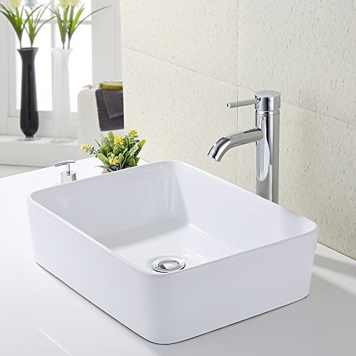 KES Bathroom Vessel Sink and Faucet Combo Bathroom Rectangular White Ceramic Porcelain Counter Top Vanity Bowl Sink Chrome Faucet, BVS110-C1 (Top Faucet Sink)
