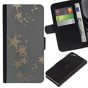EJOY---La carpeta del tirón la caja de cuero de alta calidad de la PU Caso protector / Apple Iphone 6 / --Patrón Estrella de Oro Gris Bling Tela Tela