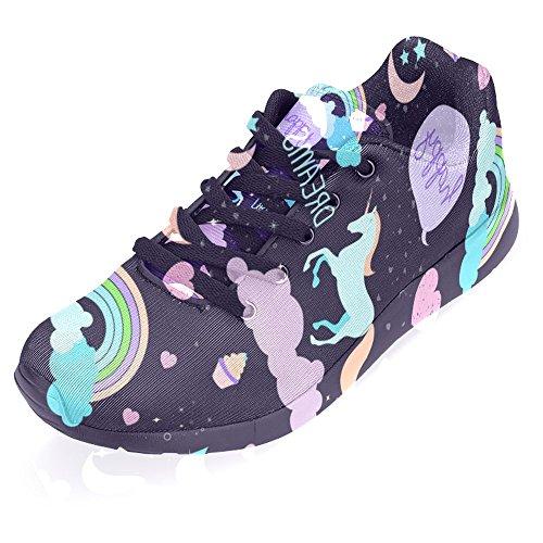 Interestprint Womens Jogging Running Sneaker Leggero Go Easy Walking Casual Comfort Sport Scarpe Da Corsa Happy Unicorn Rainbow Multi 1