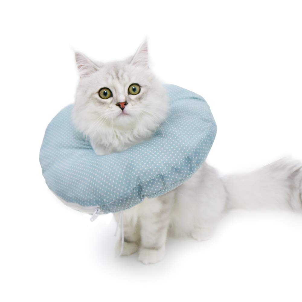 Petseek Cat Recovery Collar Small Dog Surgery Soft Cone Adjustable Detachable E Collar for Dogs Cats Blue by Petseek