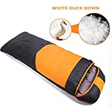 RioRand Duck Down Sleeping Bags, Outdoor Camping & Hiking Ultralight Stitching Sleeping Bag for Adults,Duck down Content 1.2kg(Orange & -10℃ to 6 ℃ /14 ℉ to 42.8℉)