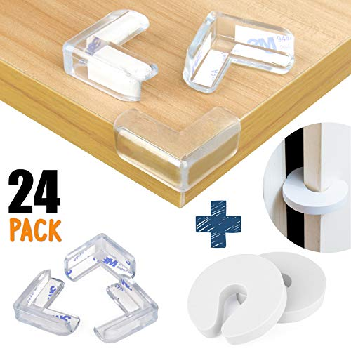 Dodo Babies Corner Protector Edge Guards, Set of 24 Table Corner Protectors for Baby – Clear Furniture Bumpers Baby Proofing Corner Guards – Strong Glue – Includes 2 Door Slam Stopper Safety
